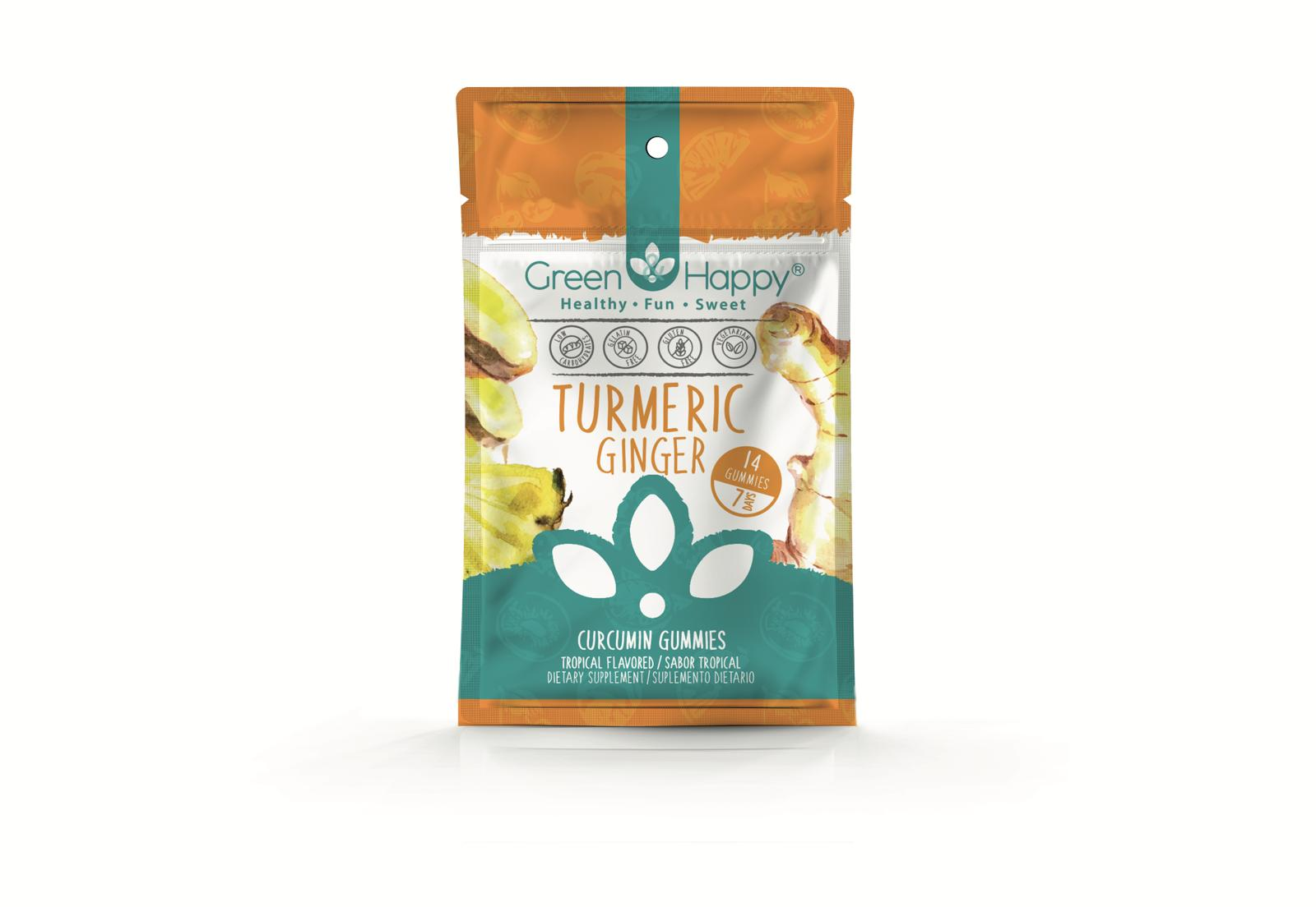 Green and Happy Curcumin and Ginger turmeric gummies